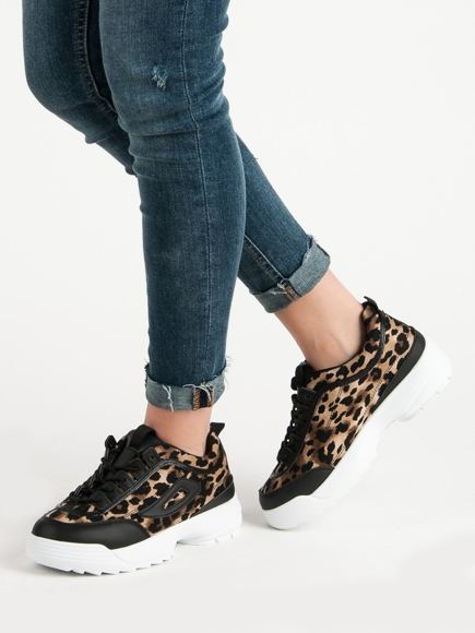 CZARNE SNEAKERSY ANIMAL PRINT